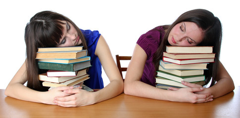 two friends fell asleep on the books