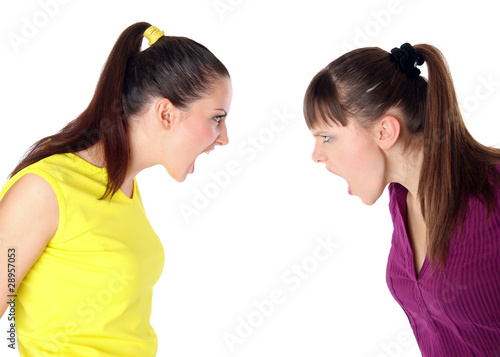 two girls shouting at each other