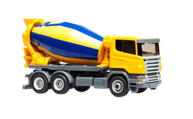 toy yellow truck concrete mixer