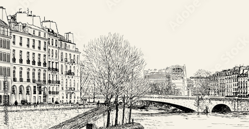 Vector illustration of a view from Pont St Louis on Seine River