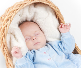 Close up portrait of newborn baby that sleeps