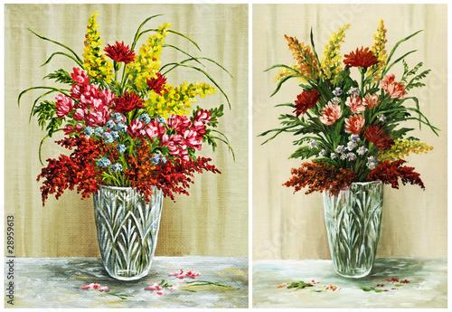 Fototapeta Flowers in a crystal vase, set