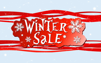 winter sale with snow flakes