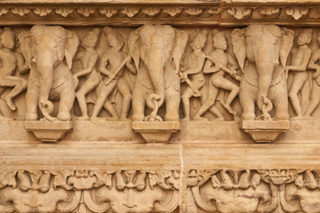 Elephants decorating a Hindu Temple at Khajuraho, India.