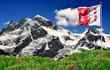 Breithorn and Klein Matterhorn with wallis flag - Swiss Alps