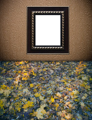 vintage golden ornament frame on textured wallpaper background a