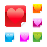 Hearts set of square glossy stickers with corner