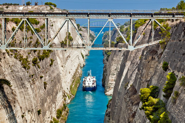 The boat crossing the Corinth channel in Greece