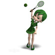toon girl in green clothes with racket and tennis ball. 3D