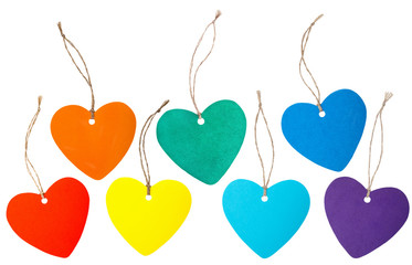 Rainbow colored paper hearts with rope