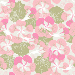 seamless ornament of pink Begonia
