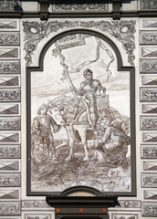 Fresco of knight on historical house in Prachatice