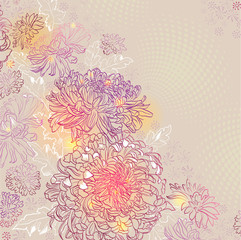 greeting-card with chrysanthemums