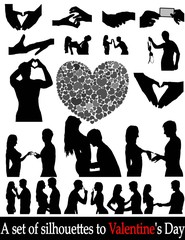 Silhouettes of people in love