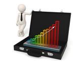 3d man business growth hologram presentation poster