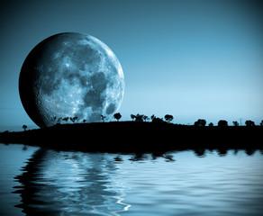 paisaje nocturno con lago y luna