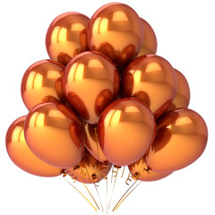 Luxury golden balloons colored metallic. Modern party decoration