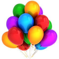 Super helium balloons multicolored. Modern party decoration