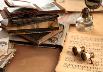 Retro books, note and old-fashioned objects