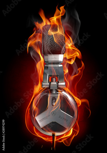 Papiers peints Flamme Headphones in fire
