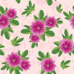 vector pink floral texture with malva flowers