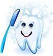 Dente e Spazzolino Cartoon-Dental Care Cartoon-Vector