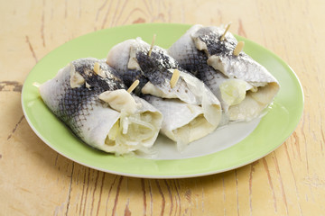 rollmops on plate