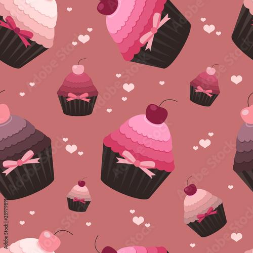 Vetor  Seamless Valentine Pattern With Cupcakes