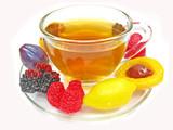marmalade gelatin fruits and tea cup poster