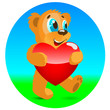 Happy bear with red heart.
