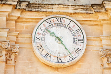 Clock on Cathedral Tower  at Mdina