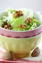 Mixed salad with green apple and walnuts
