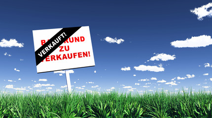 Schild im Gras - Baugrund verkauft 01