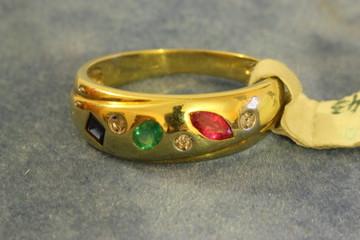 Ring (1 x Rubin, 1 x Safir, 1 x Smaragd u. Diamanten)