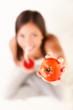 Leinwandbild Motiv Woman drinking tomato juice