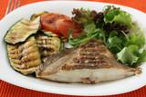 Grilled flounder with vegetables poster