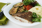 Grilled flounder with mashed potato poster
