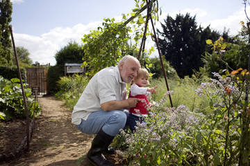A grandfather and his granddaughter looking at plants