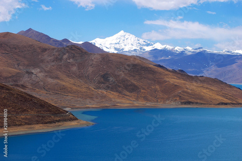 Landscape of mountains and lake