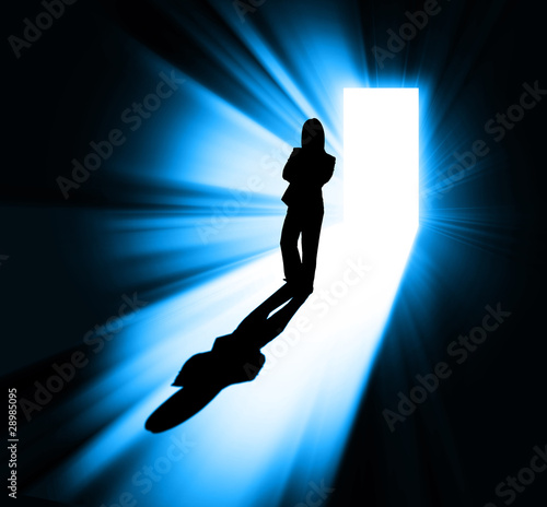 Businesswoman silhouette in doorway