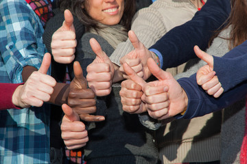 Multiracial Thumbs Up