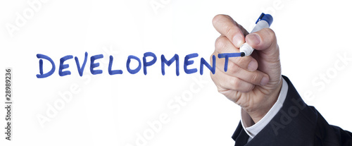mot development écrit à la main