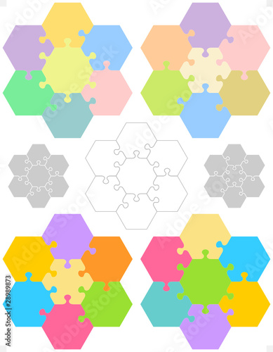 Hexagonal jigsaw puzzle templates and patterns