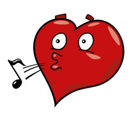 cartoon illustration of laidback heart