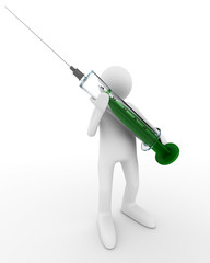 doctor with syringe on white. Isolated 3D image