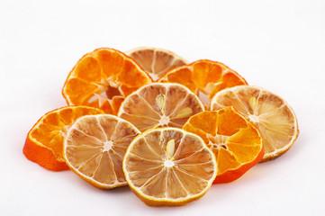 dried slices of lemon and mandarine
