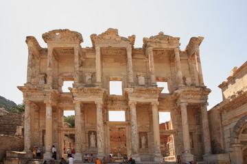 Tourists admiring Celsus Library Ephesus