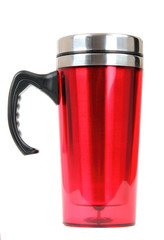 Heat protection- red thermos for coffee mug, isolated on white