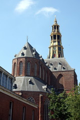 Aa-church with tower in Groningen in the Netherlands in Europe