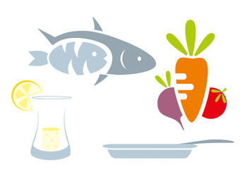 food set - beet, tomato, lemon, goblet, fruit, fish, pan, plate